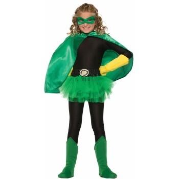 Child Hero Cape Green Satin