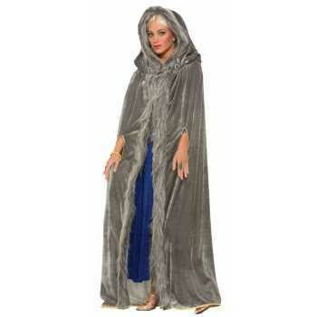 Medieval hooded cloak - grey velvet, fur trim