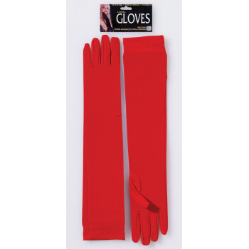 Red Nylon Opera Length Gloves