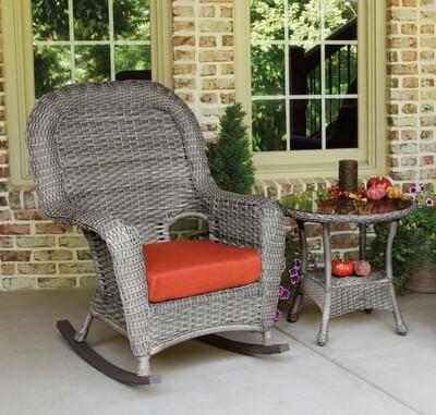 Sea Pine Wicker Driftwood Rocker Chair With Side Table
