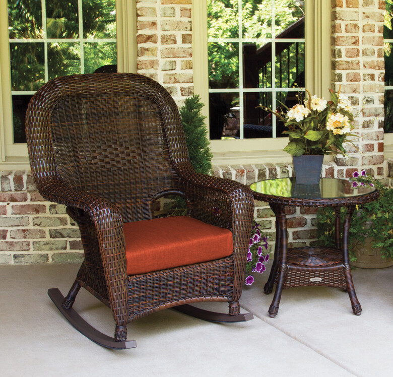 Sea Pine Wicker Java Rocker Chair With Side table