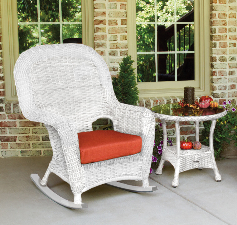 Sea Pine Wicker White Rocker With Side Table