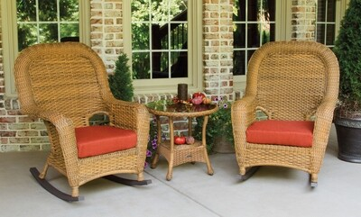 Sea Pine Wicker Mojave 2 Rockers With 1 Side Table