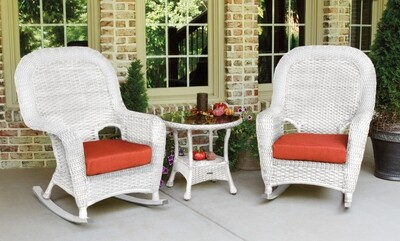 Sea Pine Wicker White 2 Rockers With 1 Side Table