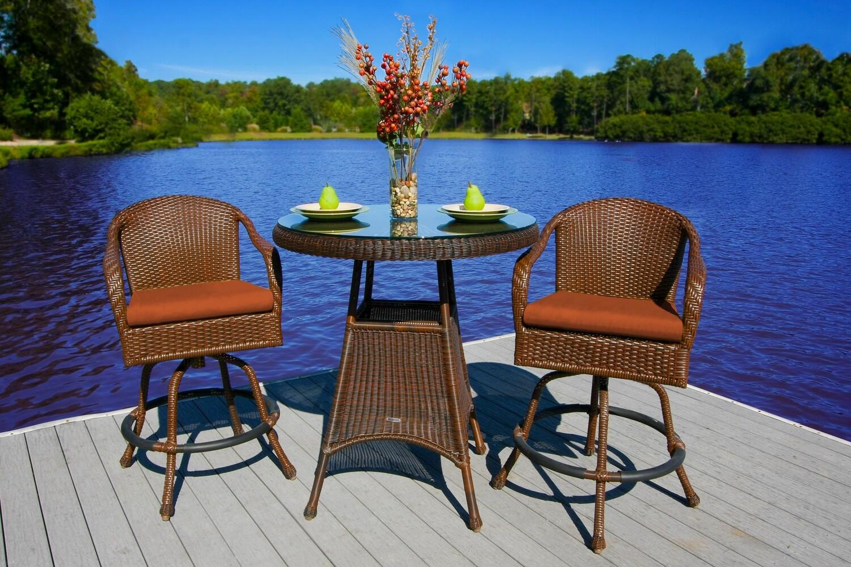 Sea Pine Wicker Java 2 Bar Chairs With 1 Bar Table