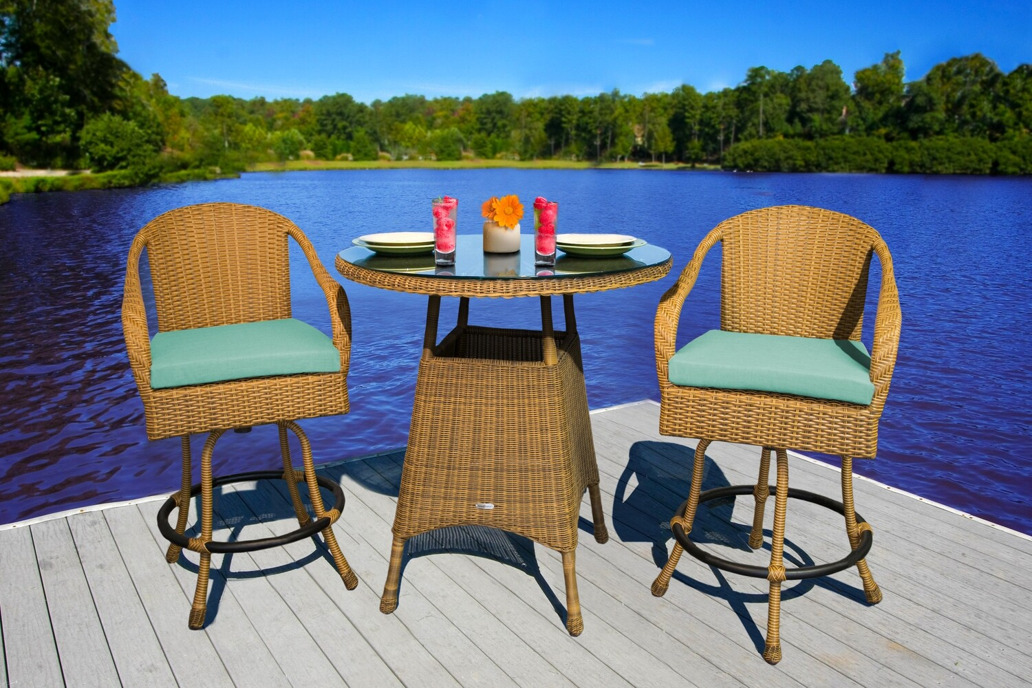 Sea Pine With Mojave 2 Bar Chairs With 1 Bar Table