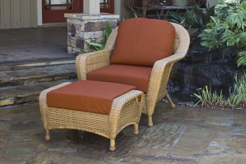 Sea Pine Wicker Mojave Club Chair With Ottoman