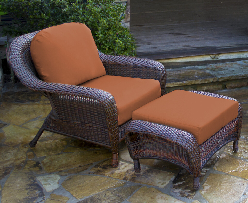 Sea Pine Wicker Java Club Chair With Ottoman