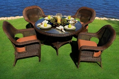 Sea Pine Java Wicker 5 Piece Dining Set 4 Chairs With Glass Table
