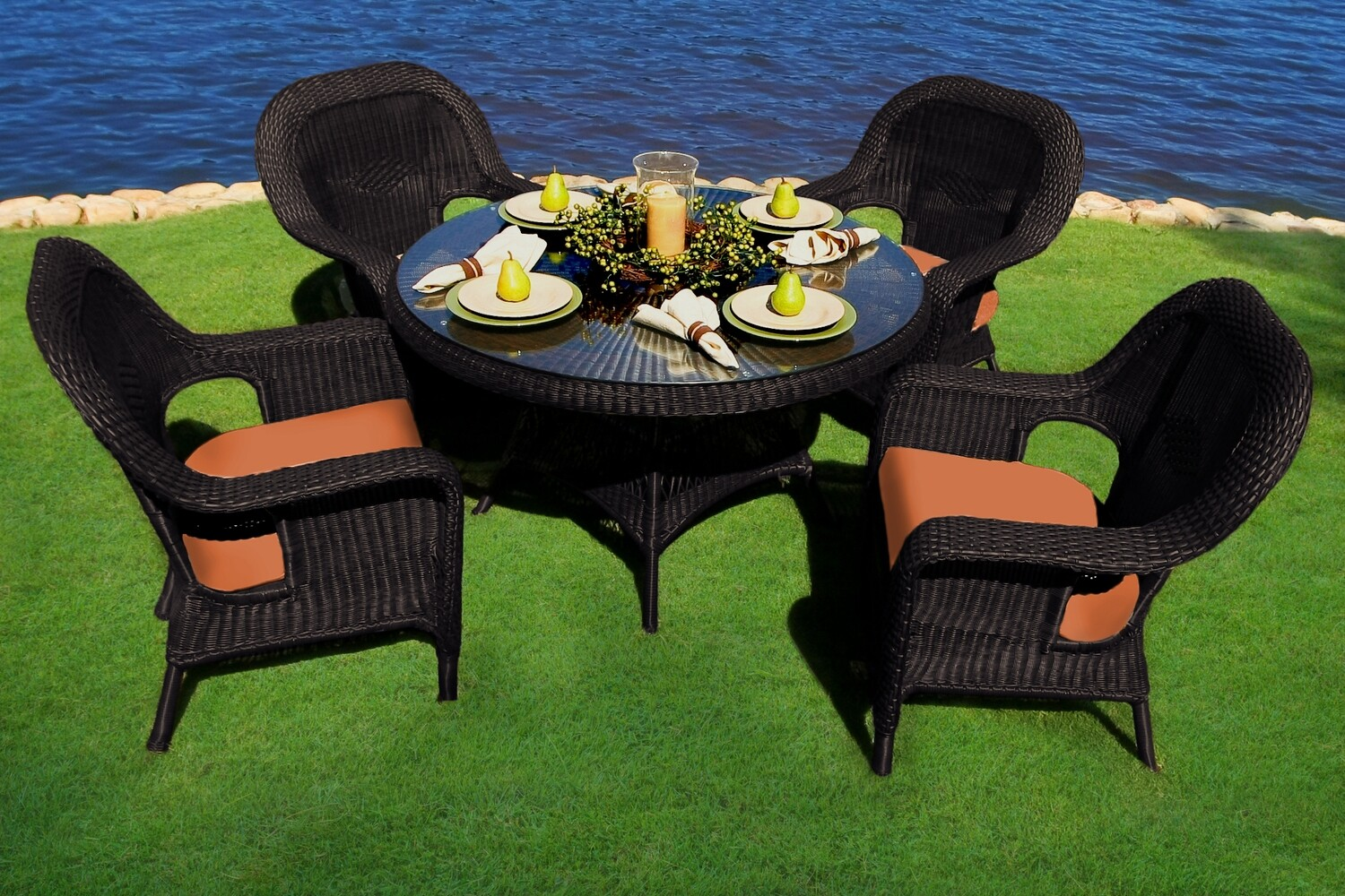 Sea Pine Tortoise Wicker 5 Piece Dining Set 4 Chairs With Glass Table