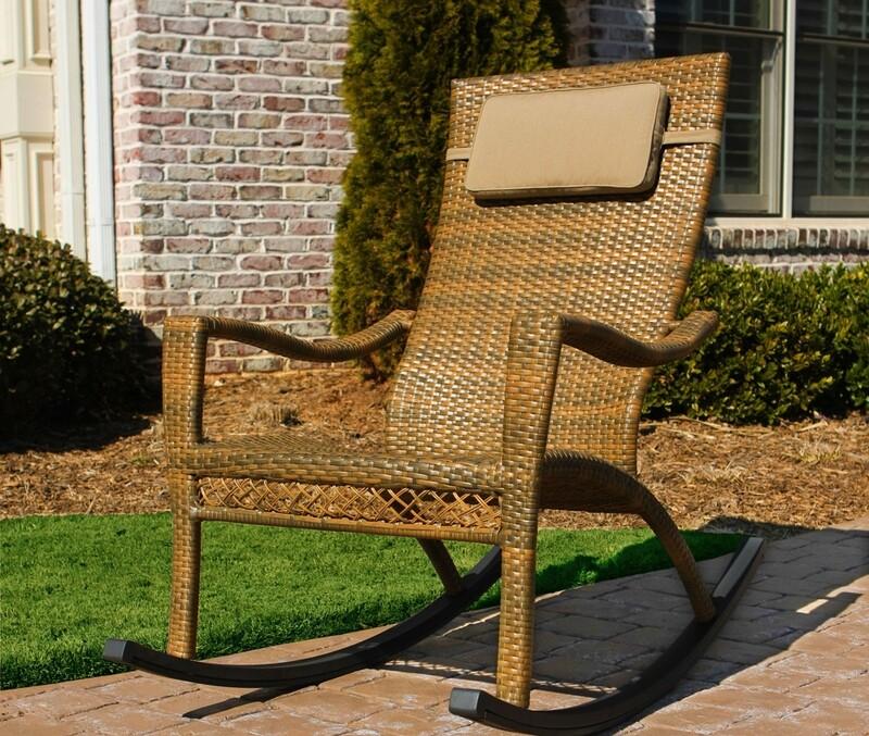 Marcay Tree Bark Rocking Chair with Head Cushion
