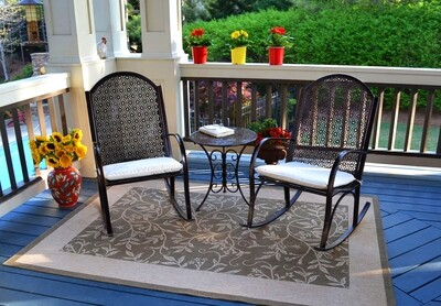 3 Piece Garden Rocker 2 Chairs and 1 Side Table