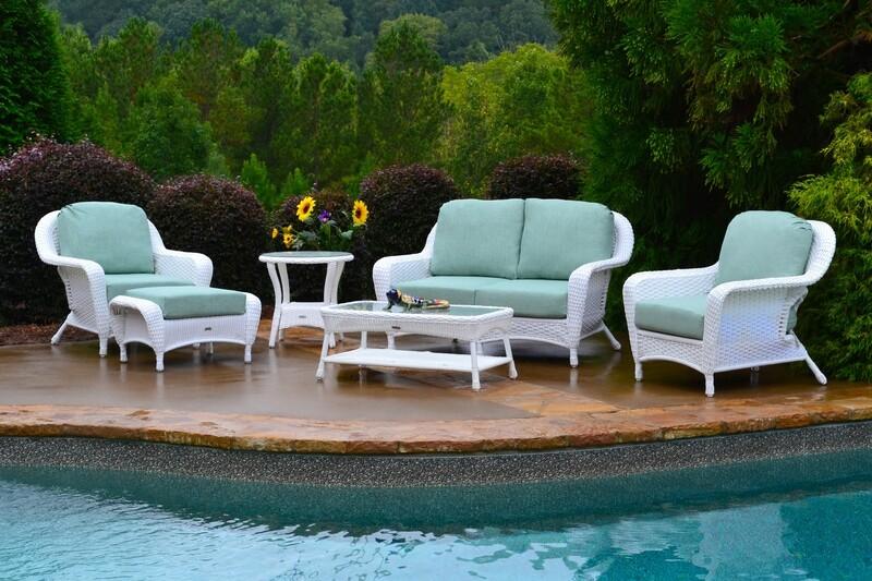 Sea Pines White Wicker 6-Pc Deep Seating Set w/ Loveseat