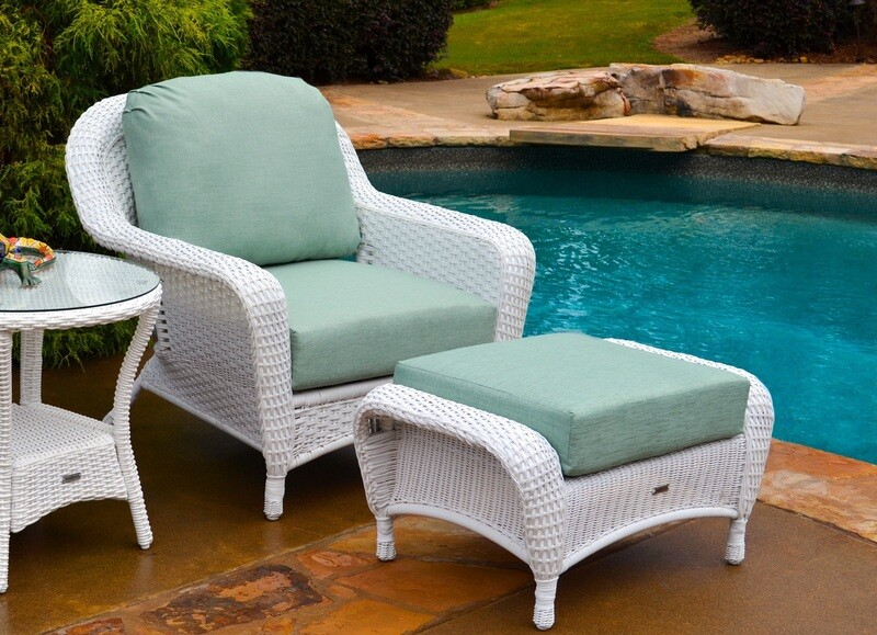 Sea Pine Wicker White or Driftwood Selection Club Chair With Ottoman