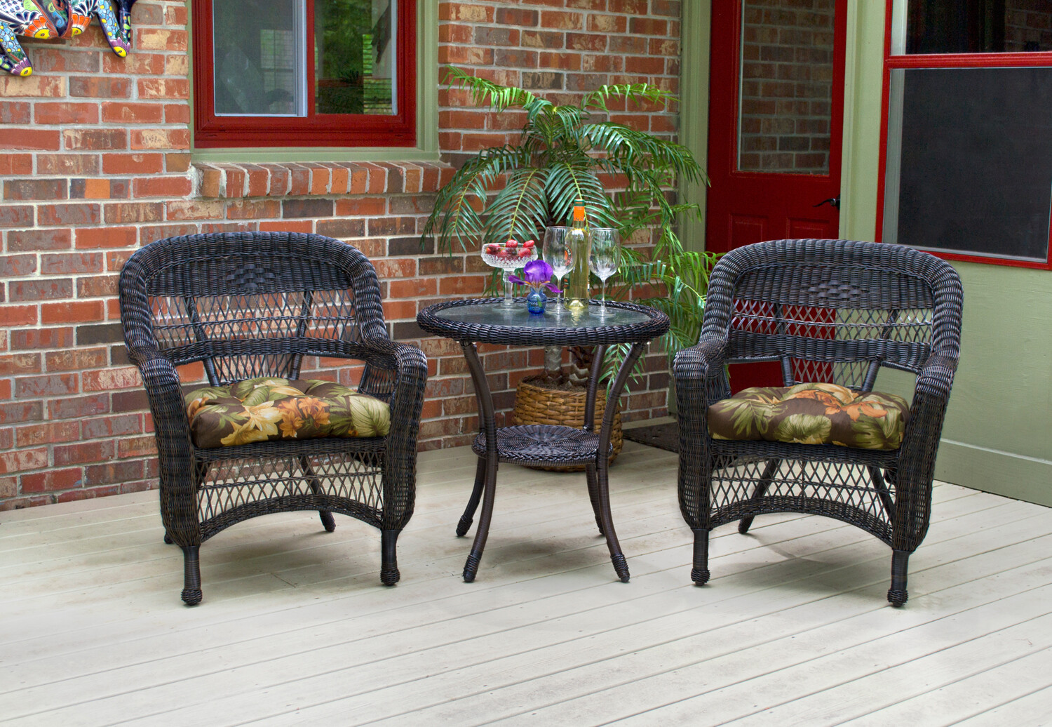 Portside Dark Roast 3 Piece Bistro 2 Chairs and Bistro Table