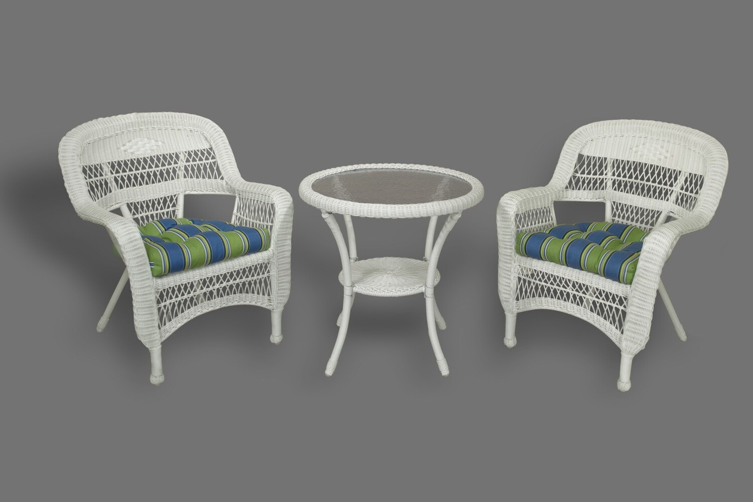 Portside White 3 Piece Bistro 2 Chairs and Bistro Table