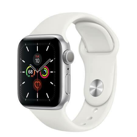 Apple Watch Series 5 Корпус из алюминия серебристого цвета • Спортивный ремешок