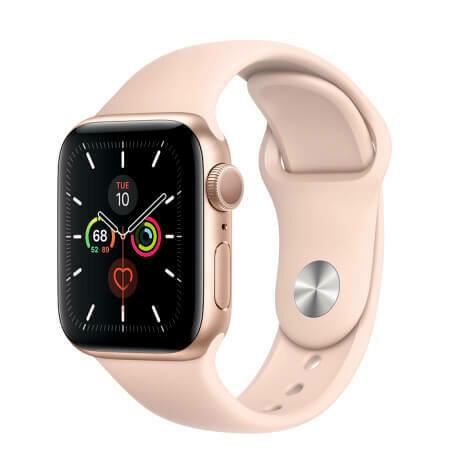 Apple Watch Series 5 Корпус из алюминия золотого цвета • Спортивный ремешок