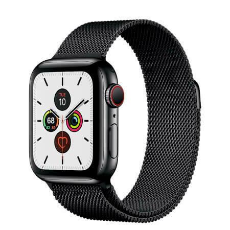 Apple Watch Series 5 Корпус из нержавеющей стали • миланский браслет (чёрный)