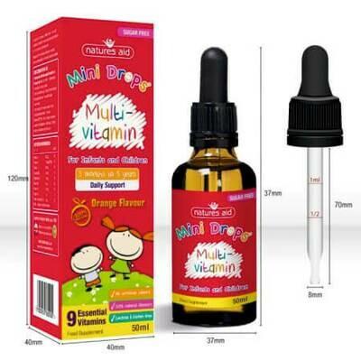 Natures Aid Мультивитамины для младенцев в форме капли с 9 натуральными витаминами