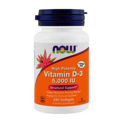 Now Foods Витамин D-3 высокоактивный 5000 IU