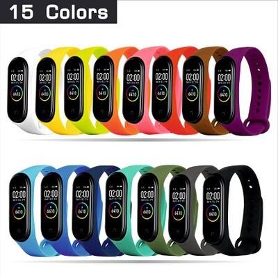 Комплект силиконовых ремешков из 15 цветов для Xiaomi Mi Band 4 (15 шт)