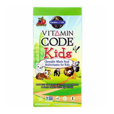 Жевательные мультивитамины из цельных продуктов для детей, Вишневый вкус, Garden of Life, Vitamin Code