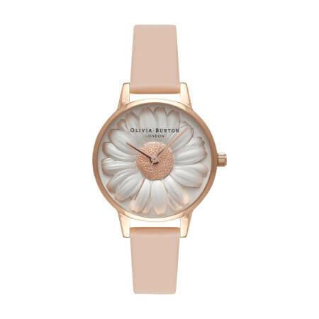Английские часы Olivia Burton 3D Daisy Nude Peach & Rose Gold