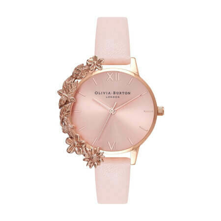 Английские часы Olivia Burton Women's Case Cuffs Nude Peach & Rose Gold with Pink Leather Strap