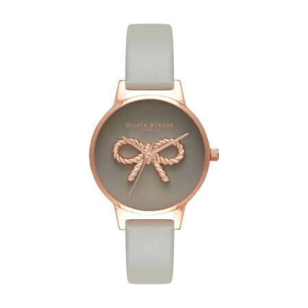 Английские часы Olivia Burton Vintage Bow Grey & Rose Gold