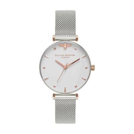 Английские часы Olivia Burton Women's Queen Bee Rose Gold & Silver Mesh