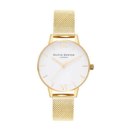 Английские часы Olivia Burton Women's White Dial Gold Mesh