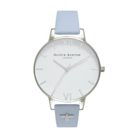 Английские часы Olivia Burton Women's Embellished Strap Chalk Blue & Silver