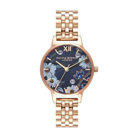 Английские часы Olivia Burton Women's Bejewelled Florals Navy Sunray & Rose Gold Watch