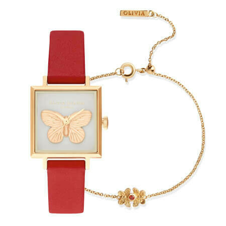 Английские часы с браслетом Olivia Burton Ladies' 3D Butterfly Red & Gold Watch Gift Set