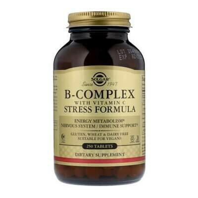 Комплекс витаминов-B с витамином C, формула для борьбы со стрессом от Solgar