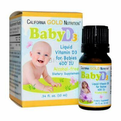 Чистый витамин Д3 для младенцев California Gold Nutrition 400IU (от 0 до 3 лет)