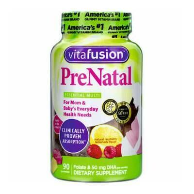Витамины во время беременности и кормления грудью VitaFusion, PreNatal, Folate & DHA, Natural Raspberry Lemonade Flavor