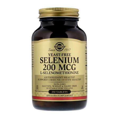 Селен (Selenium), Solgar, без дрожжей, 200 мкг, 250 таблеток