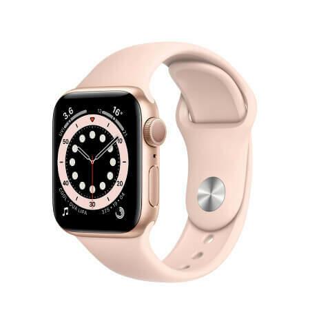 Apple Watch Series 6 Корпус из алюминия золотого цвета • Спортивный ремешок