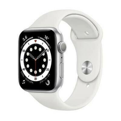 Apple Watch Series 6 Корпус из алюминия серебристого цвета • Спортивный ремешок