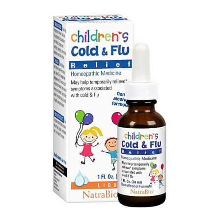 Для лечения простуды и гриппа  NatraBio Children's Cold & Flu Relief