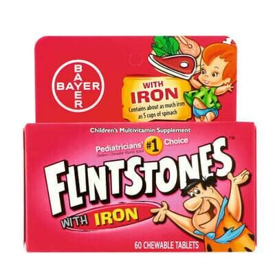 Детский поливитамин с железом Flintstones (60 жевательных таблеток)
