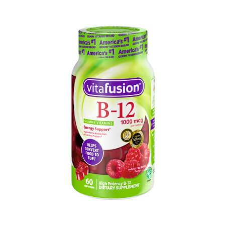 Жевательные мультивитамины со вкусом малины Vitafusion B12 60 вкусных мармеладок