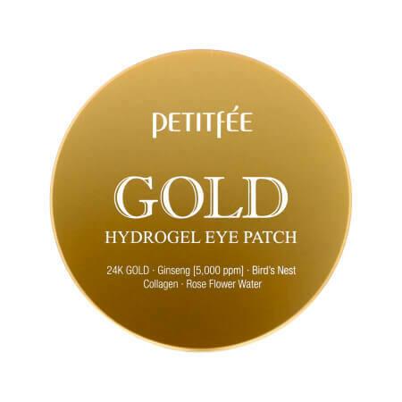 Легендарные Гидрогелевые и увлажняющие  патчи для глаз с 24K золота Petitfee Gold Hydrogel Eye Patch +5 Golden  60 патчей