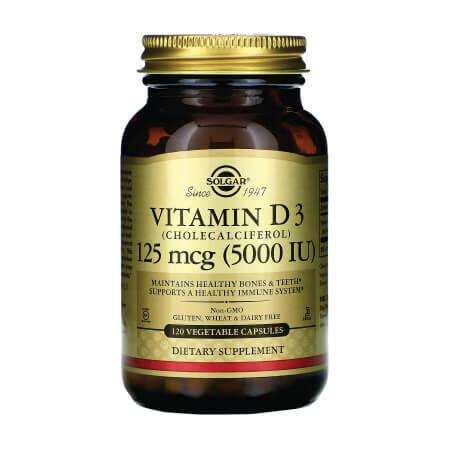 Solgar, витамин D3 (холекальциферол), 125 мкг (5000 МЕ), 120 вегетарианских капсул