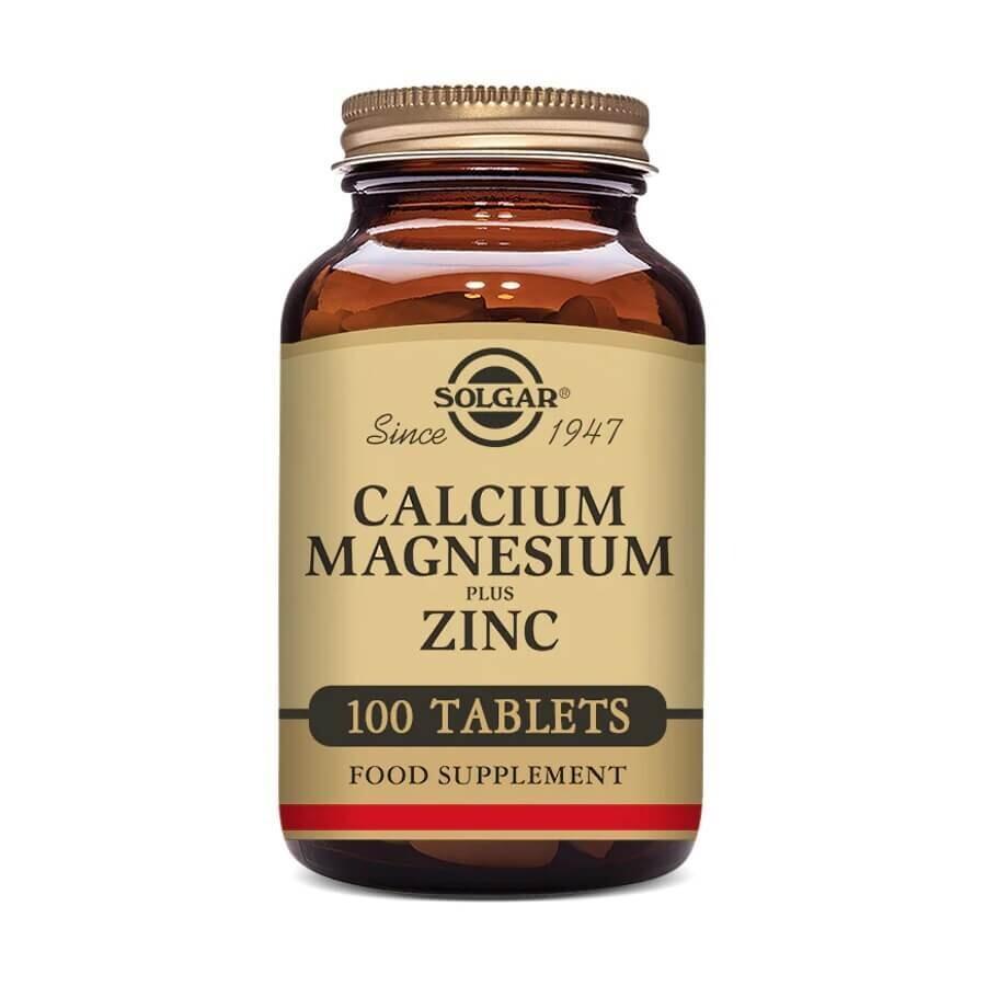 Solgar, кальций, магний и цинк, 100 таблеток