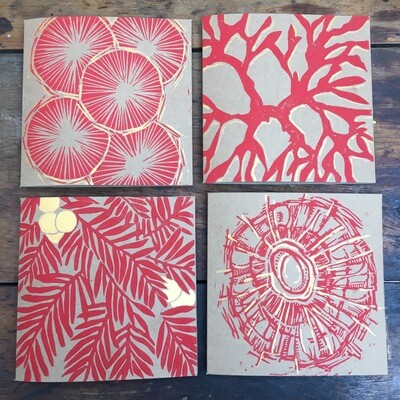 Handprinted Cards (Gold Tipped)