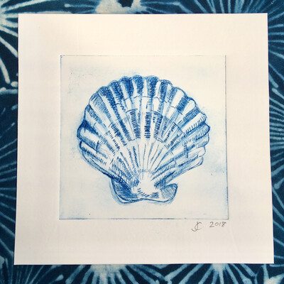 Scallop Shell Drypoint Etching