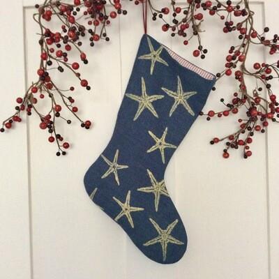 Starfish Stocking in Dark Blue